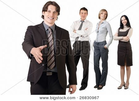Smiling businessman  and his team ready to make a deal, against white background