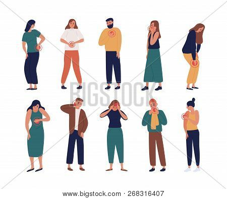 Collection Of Unhappy People Suffering Pain Or Ache In Different Body Parts - Chest, Neck, Leg, Back