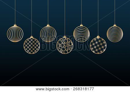 Christmas Background Gold Balls Toy On A Blue Background Festive Background For Christmas And New Ye