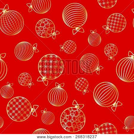 Seamless Pattern With Christmas Ball Winter Festive Background On New Year And Christmas Ornament Fo