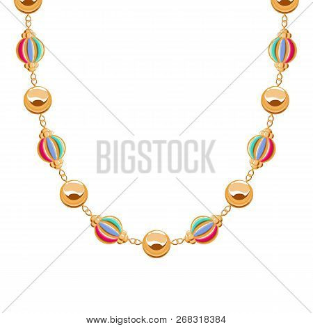 Chunky Chain Golden Necklace Or Bracelet With Colorful Beads.