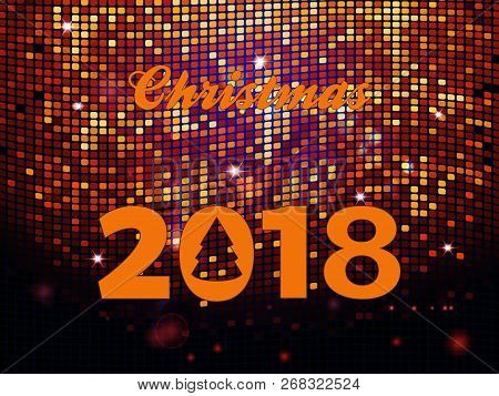 Christmas 2018 Decorative Text With Abstract Tree Over Golden Glowing Disco Wall Tiles Background