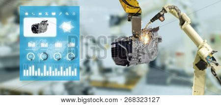 Iot Industry 4.0 Concept,industrial Engineer Using Smart Glasses With Augmented Mixed With Virtual R