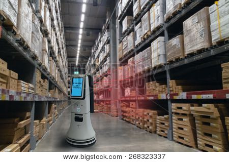 Smart Retail Concept, Robot Service Use For Check The Data Of Or Stores That Stock Goods On Shelves