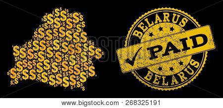 Golden Composition Of Dollar Mosaic Map Of Belarus And Paid Rubber Seal Stamp. Vector Imprint With C