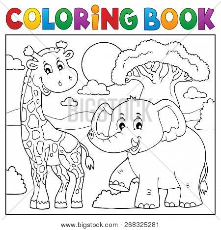 Coloring Book African Nature Topic 1 - Eps10 Vector Picture Illustration.