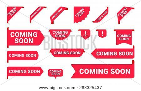 Coming Soon Promo Banners, Stickers And Tag Labels. Vector Isolated Red Pink Shop Or Store Banners A