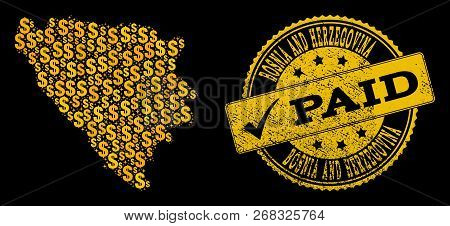 Golden Composition Of Dollar Mosaic Map Of Bosnia And Herzegovina And Paid Scratched Seal Stamp. Vec