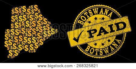 Golden Combination Of Dollar Mosaic Map Of Botswana And Paid Scratched Seal. Vector Seal With Grunge