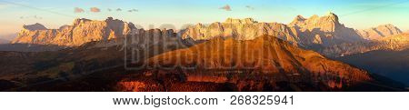 Evening Sunset Colored Panoramic View Of Alps Dolomites Mountains From Col Di Lana, Tofana, Fanes An