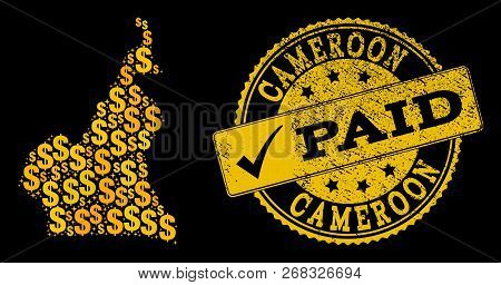 Golden Composition Of Dollar Mosaic Map Of Cameroon And Paid Rubber Seal Stamp. Vector Seal With Unc