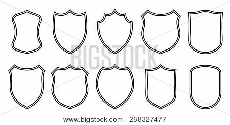 Badge Patches Vector Outline Templates. Vector Sport Club, Military Or Heraldic Shield And Coat Of A