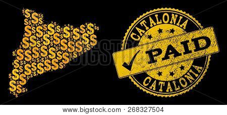 Golden Collage Of Dollar Mosaic Map Of Catalonia And Paid Unclean Seal Stamp. Vector Seal With Scrat