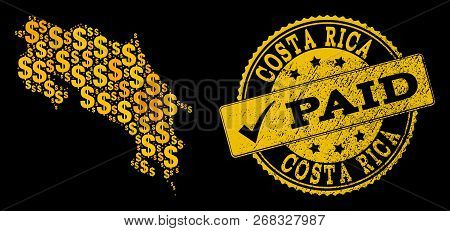Golden Composition Of Dollar Mosaic Map Of Costa Rica And Paid Unclean Seal Stamp. Vector Seal With