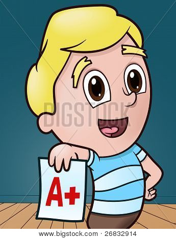 Happy boy showing good grade