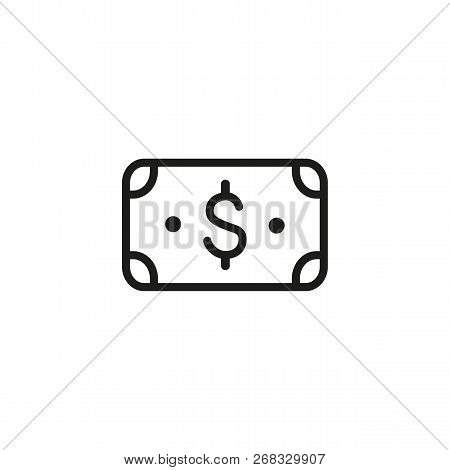 Dollar Currency Line Icon. Income, Payment, Cash, Banknote. Money Exchange Concept. Vector Illustrat