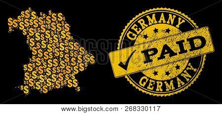 Golden Composition Of Dollar Mosaic Map Of Germany And Paid Scratched Seal. Vector Seal With Unclean