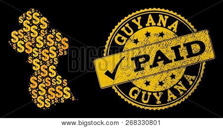Golden Composition Of Dollar Mosaic Map Of Guyana And Paid Grunge Seal. Vector Seal With Grunge Rubb