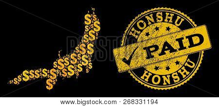 Golden Combination Of Dollar Mosaic Map Of Honshu Island And Paid Rubber Seal Stamp. Vector Seal Wit