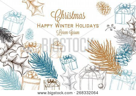 Merry Christmas Card Vector Photo Free Trial Bigstock