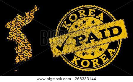 Golden Collage Of Dollar Mosaic Map Of Korea And Paid Grunge Seal Stamp. Vector Imprint With Grunge