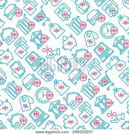 Percentages Seamless Pattern With Thin Line Icon: Loan, Credit, Offer, Interest Rate, Sale, Discount
