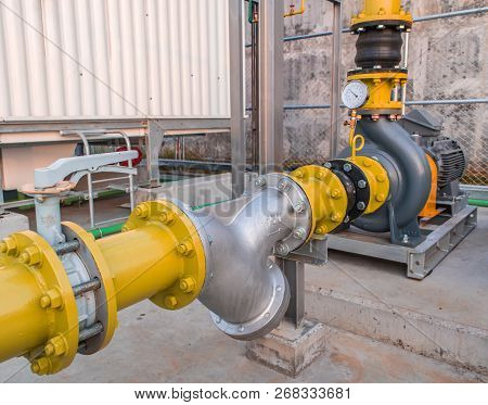 Water Pump Motor And Pipe With Pressure Gauges In Factory Industrial