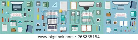 Workplace Concept, Working Place Design In A Flat Style, Workplace Equipment, Computer, Laptop, Phon