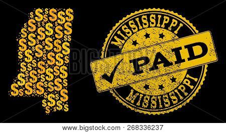 Golden Composition Of Dollar Mosaic Map Of Mississippi State And Paid Rubber Seal Stamp. Vector Seal