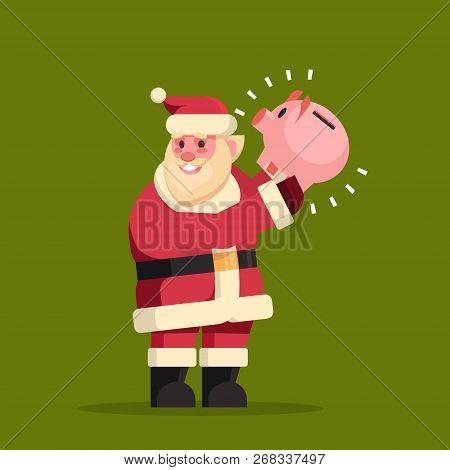 Santa Claus Hold Piggy Bank Money Savings Merry Christmas Holiday New Year Concept Flat