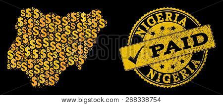 Golden Composition Of Dollar Mosaic Map Of Nigeria And Paid Rubber Seal Stamp. Vector Seal With Grun