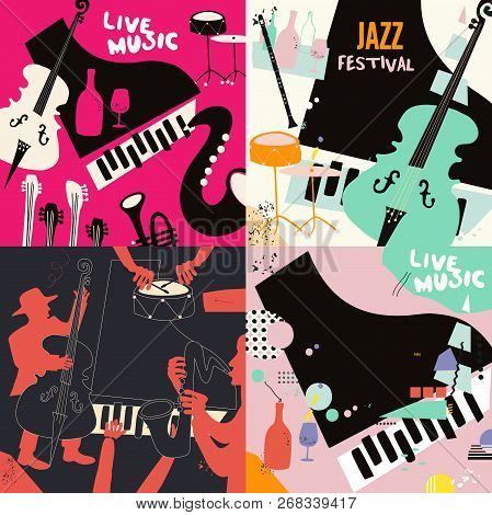 Set Of Music Cards And Banners. Music Cards With Instruments Flat Vector Illustration Design. Jazz M