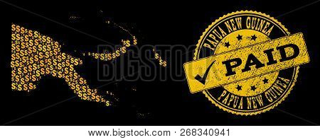 Golden Combination Of Dollar Mosaic Map Of Papua New Guinea And Paid Scratched Seal Stamp. Vector Se