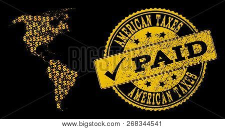 Golden Collage Of Dollar Mosaic Map Of South And North America And Paid Corroded Seal Stamp. Vector