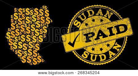 Golden Combination Of Dollar Mosaic Map Of Sudan And Paid Dirty Seal Stamp. Vector Seal With Unclean