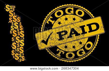 Golden Combination Of Dollar Mosaic Map Of Togo And Paid Rubber Seal Stamp. Vector Seal With Distres