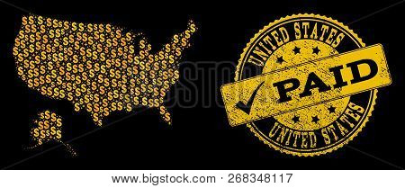 Golden Collage Of Dollar Mosaic Map Of Usa And Alaska And Paid Rubber Seal. Vector Seal With Distres