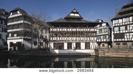 Panorama of Half Timbered Houses in Strasbourg poster