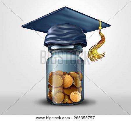 Education fund or scholarships and learning or school tuition debt financial planning symbol as a 3D illustration. poster