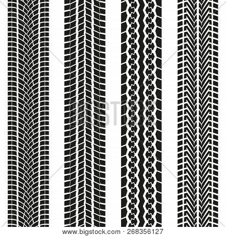 Tire Tread Or Tracks Set  Isolated On White Background. Tyre Print Collection. Vector Illustration.