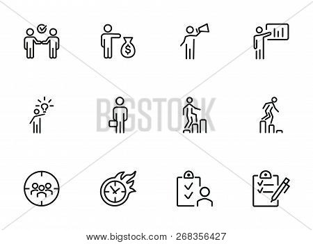 Businessman Line Icon Set. Manager, Investor, Leader. Business Concept. Can Be Used For Topics Like