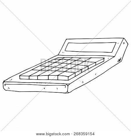 Calculator Icon. Vector Illustration Of A Button Calculator. Hand Drawn Calculator.