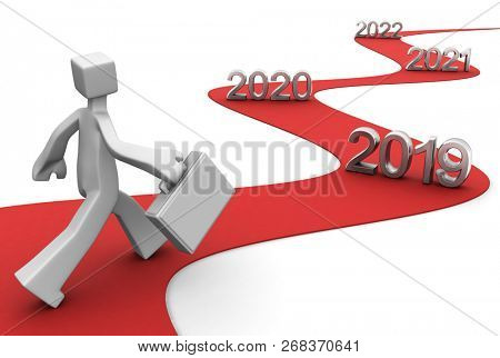 Bright future success concept 2019 3d illustration