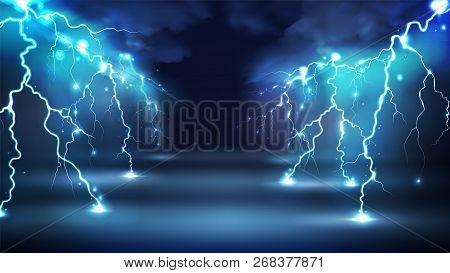 Realistic Lightning Bolts Flashes Composition With Images Of Clouds In Night Sky And Radiant Glowing