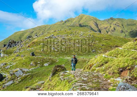Munsiyari, Uttarakhand, India - September 29, 2018 : Treker At Khaliya Top - Trekking In Himalayas