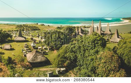 Traditional village. Aerial drone shot. Indonesia. Authentic huts called