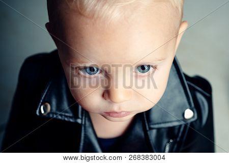 Little Rock Star. Rock Style Child. Little Child Boy In Rocker Jacket. Rock And Roll Fashion Trend.