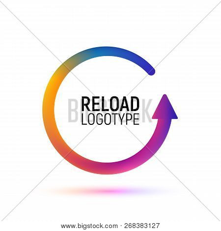 Reload Abstract Vector Logo. Retry Colorful Isolated Icon. Replay Digital Logotype On White Backgrou