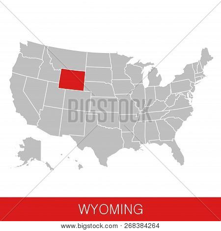 United States Of America With The State Of Wyoming Selected. Map Of The Usa Vector Illustration
