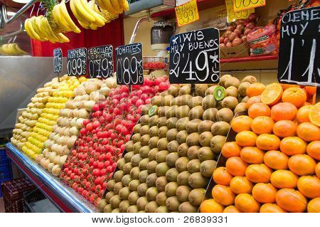 Fruits and vegetables in Spanish street market